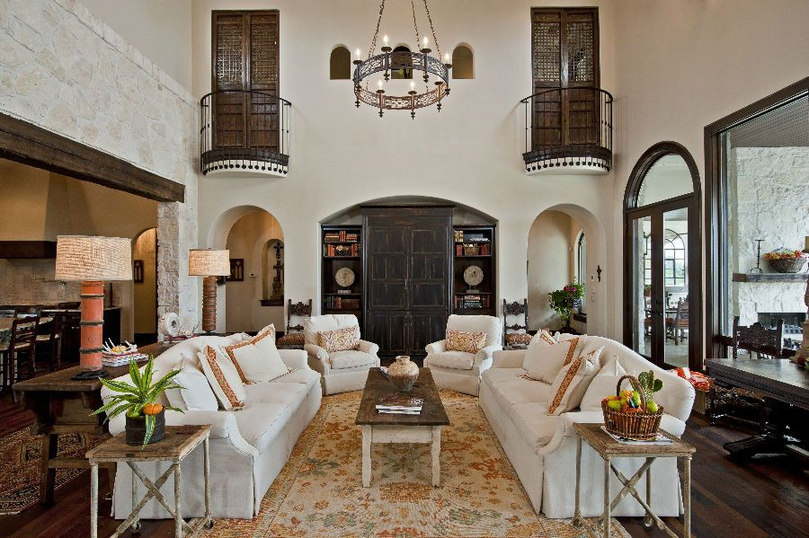 Stunning Warm Santa Fe Styled Great-Room. With Coral, Spice Brown, and Cream.