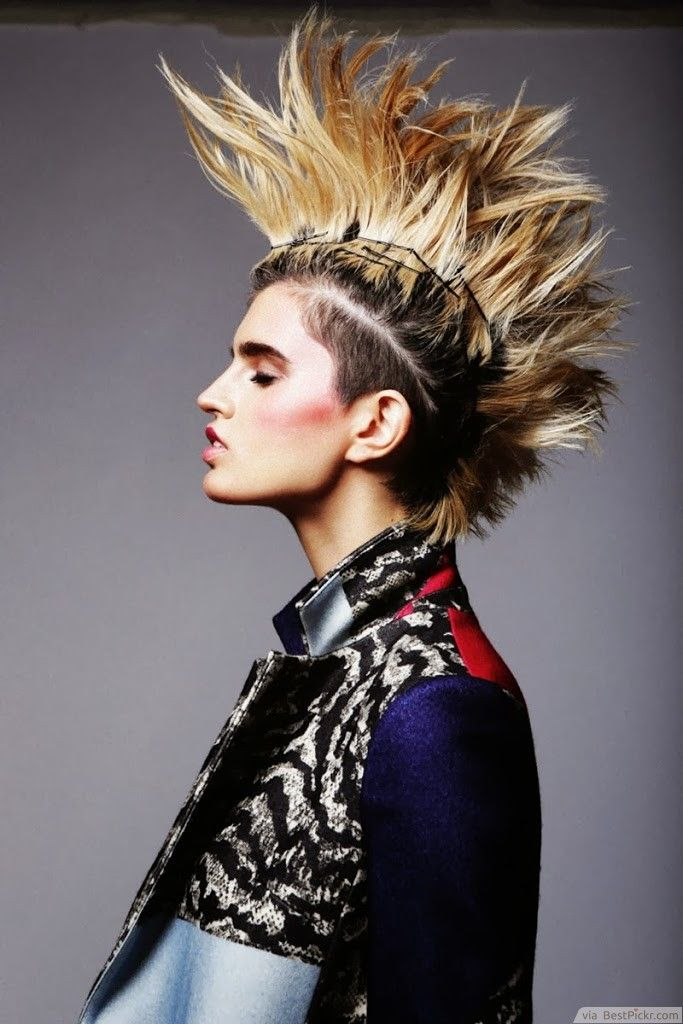 Spiky Blonde Punk Mohawk Haircut For Women Http