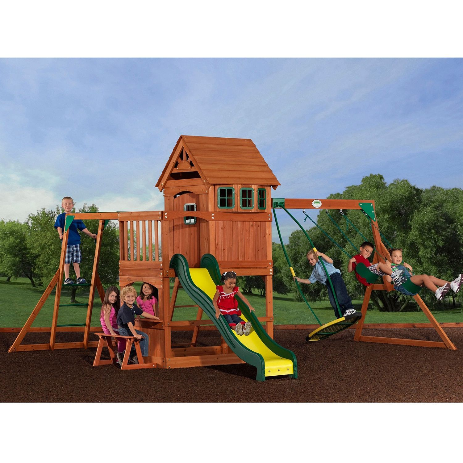 Backyard Discovery Montpelier All Cedar Swing Set Brown Products