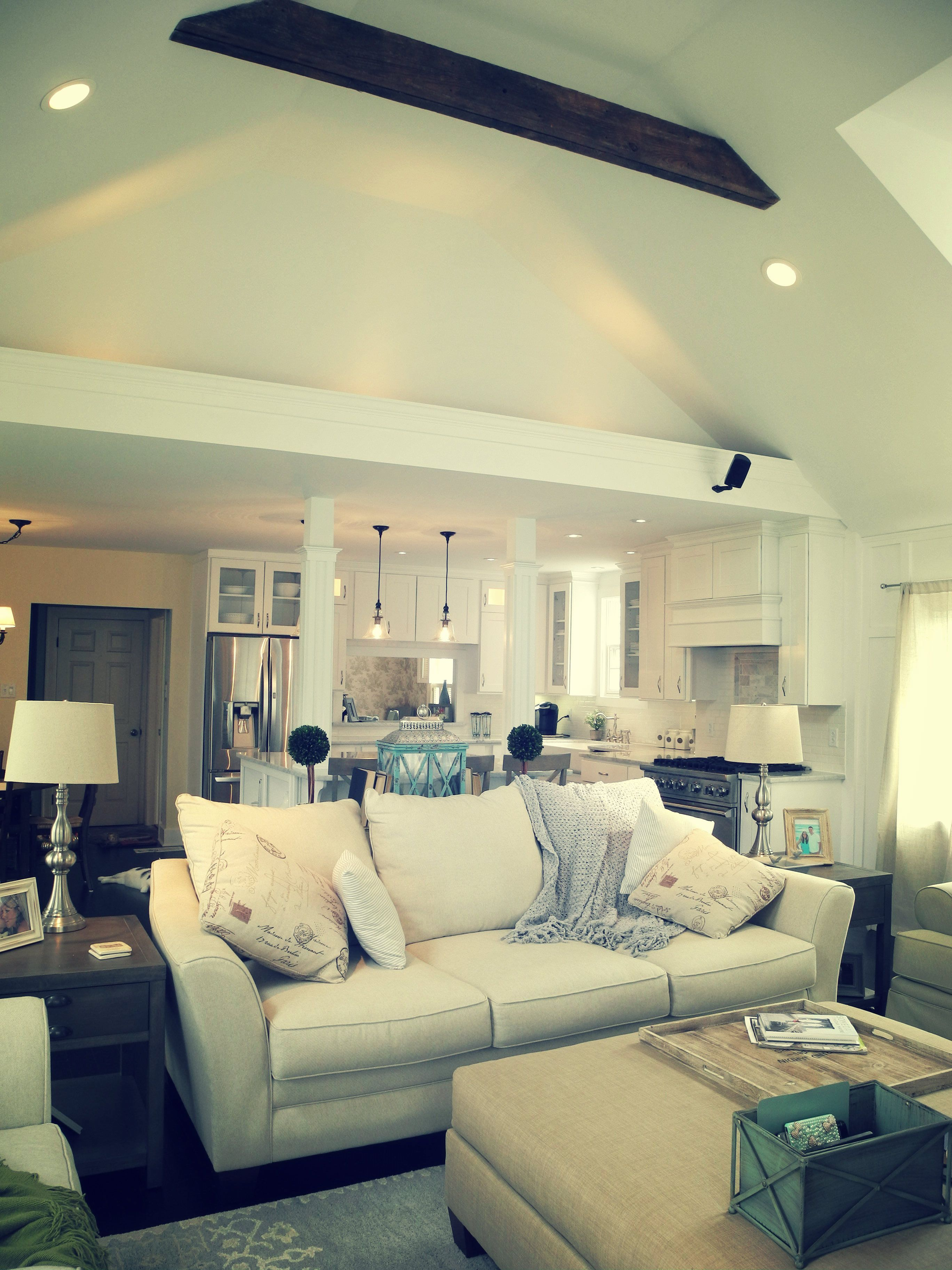 ceiling beams, farmhouse chic, family room into kitchen, open plan ...