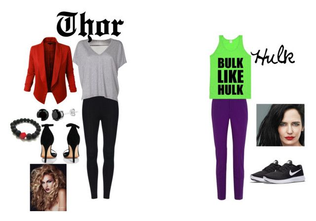 """""""Thor and Hulk"""" by peaches200214 ❤ liked on Polyvore featuring Gucci, Acne Studios, LE3NO, Boohoo and NIKE"""