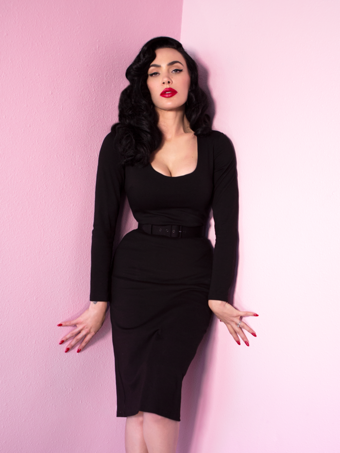 70bbd4f6ff786 Troublemaker Wiggle Dress in Raven Black - Vixen by Micheline Pitt ...