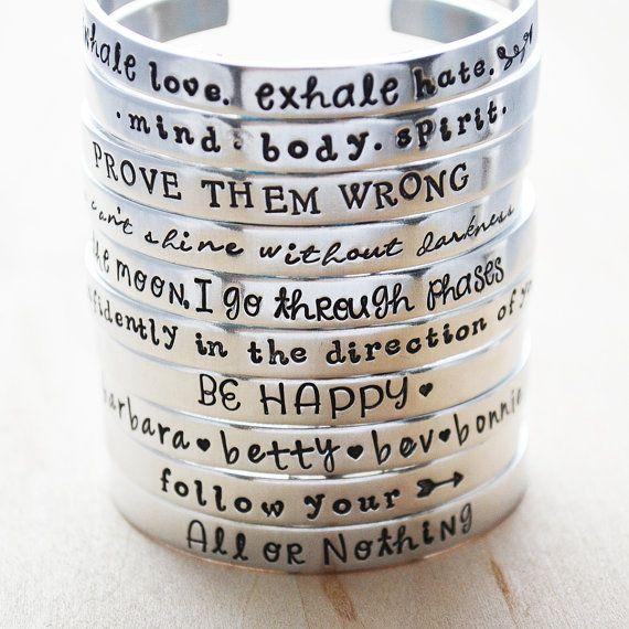 "2 Custom Hand Stamped Aluminum Cuff Bracelet 3//8 X 6/"". Sister Bracelets"