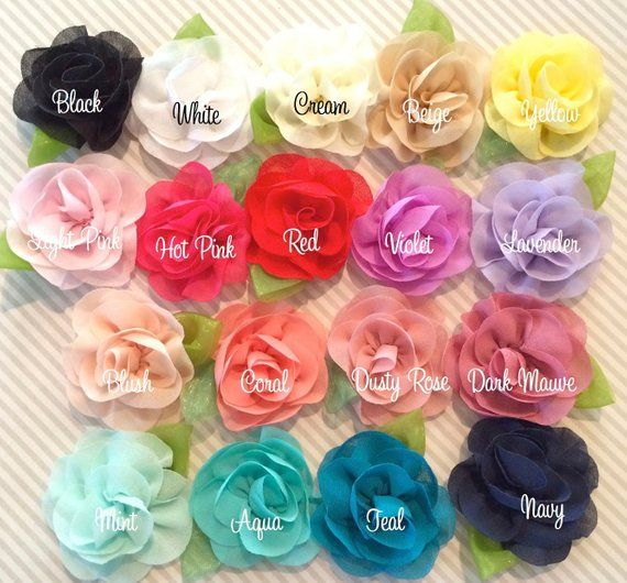 "3 pieces Black 2/"" satin rolled rosette flower DIY baby headband"