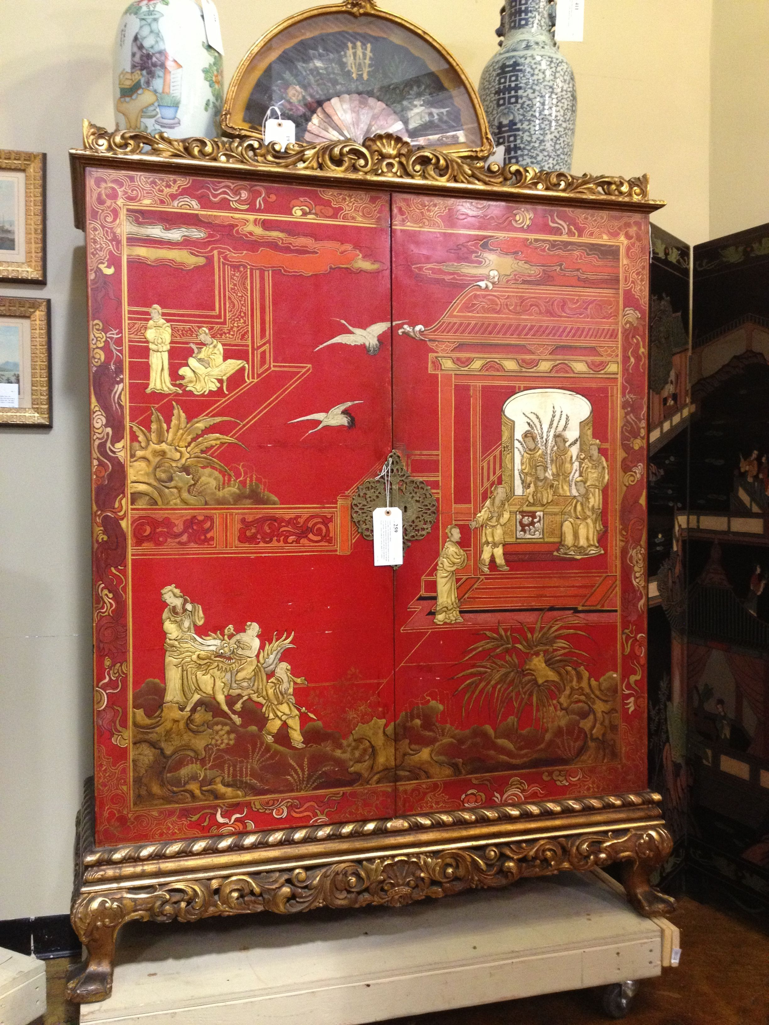 http://www.pinterest.com/joliesarts ∗  »☆Elysian-Interiors ♕Simply divine #Interiordesign ~ Chinese & Asian style Interiors ~ Red lacquer chinoiserie chest