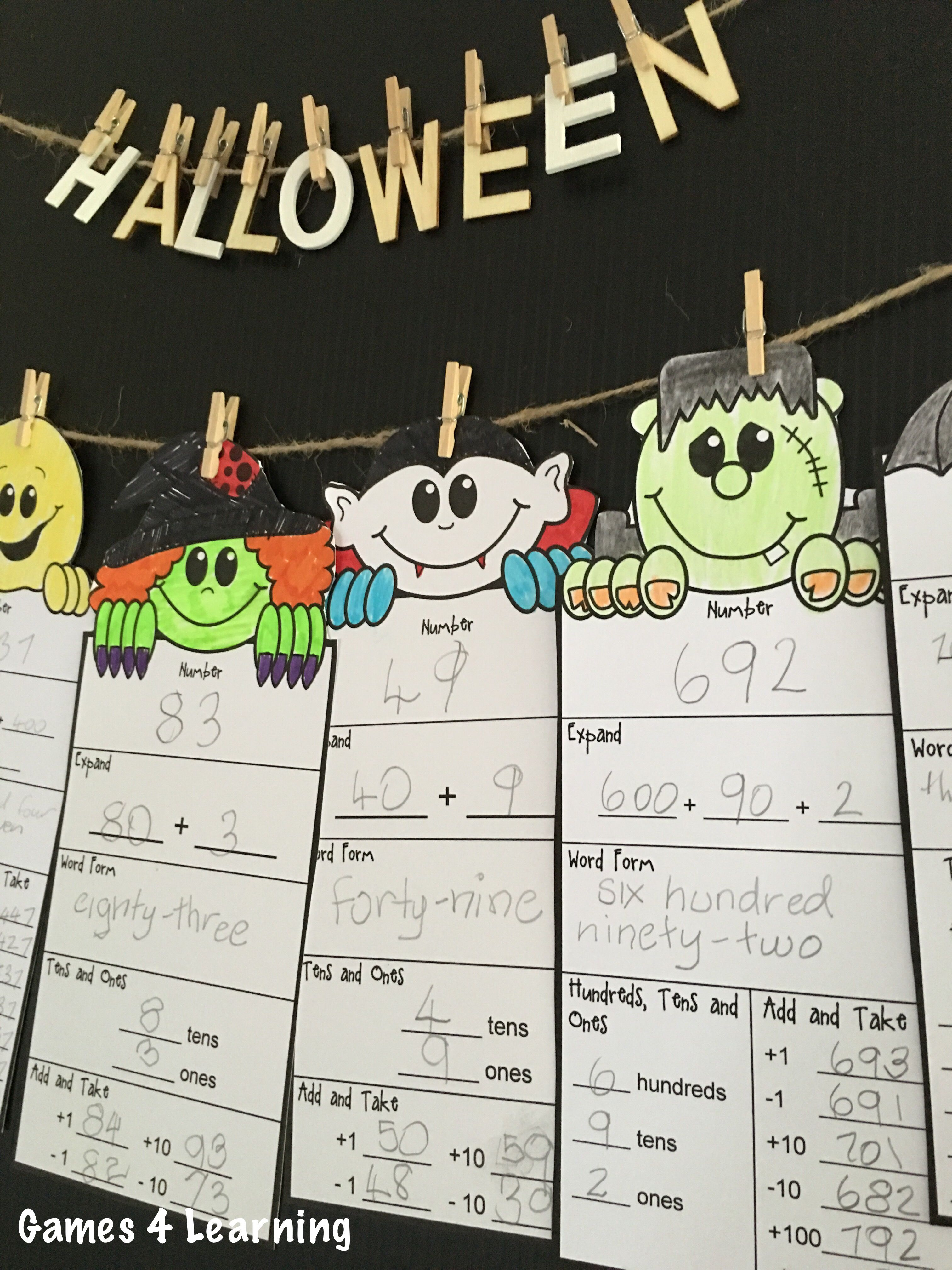 halloween math activities halloween place value and number friends halloween math math and black. Black Bedroom Furniture Sets. Home Design Ideas