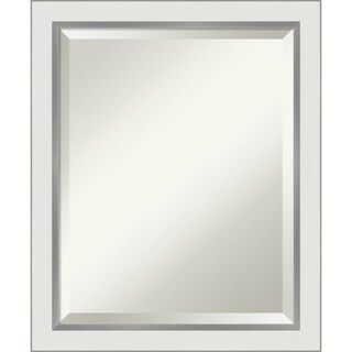 Eva White Silver Narrow Bathroom Vanity Wall Mirror In 2020