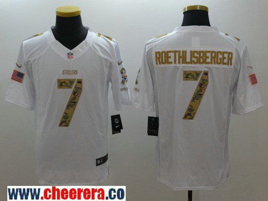 539b21c6c Men s Pittsburgh Steelers  7 Ben Roethlisberger White Salute To Service  Stitched NFL Nike Limited Jersey