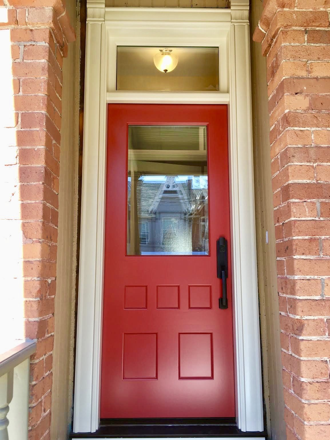 Lovely Cabbagetown Home Features Very Vibrant Amberwooddoors Mahogany Entrance W Custom Period Brick Mould Single Entry Doors Brick Molding Custom Wood Doors