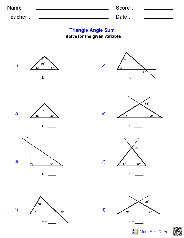 Printable Worksheets triangle sum theorem worksheets : Triangle Angle Sum Worksheets | Places to Visit | Pinterest ...