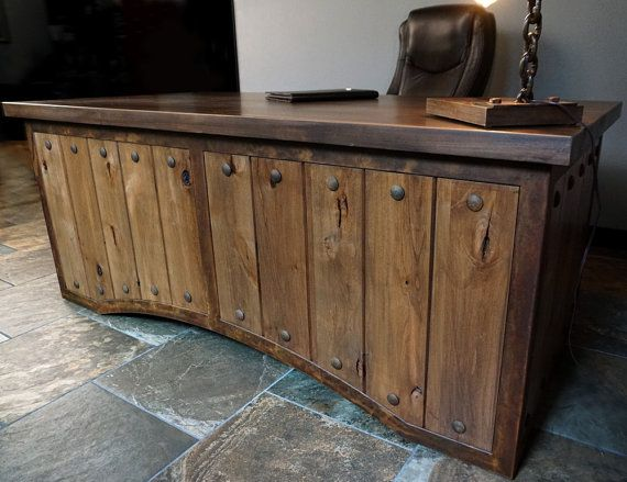 Rustic And Metal Executive Desk Rustic Office Desk Industrial