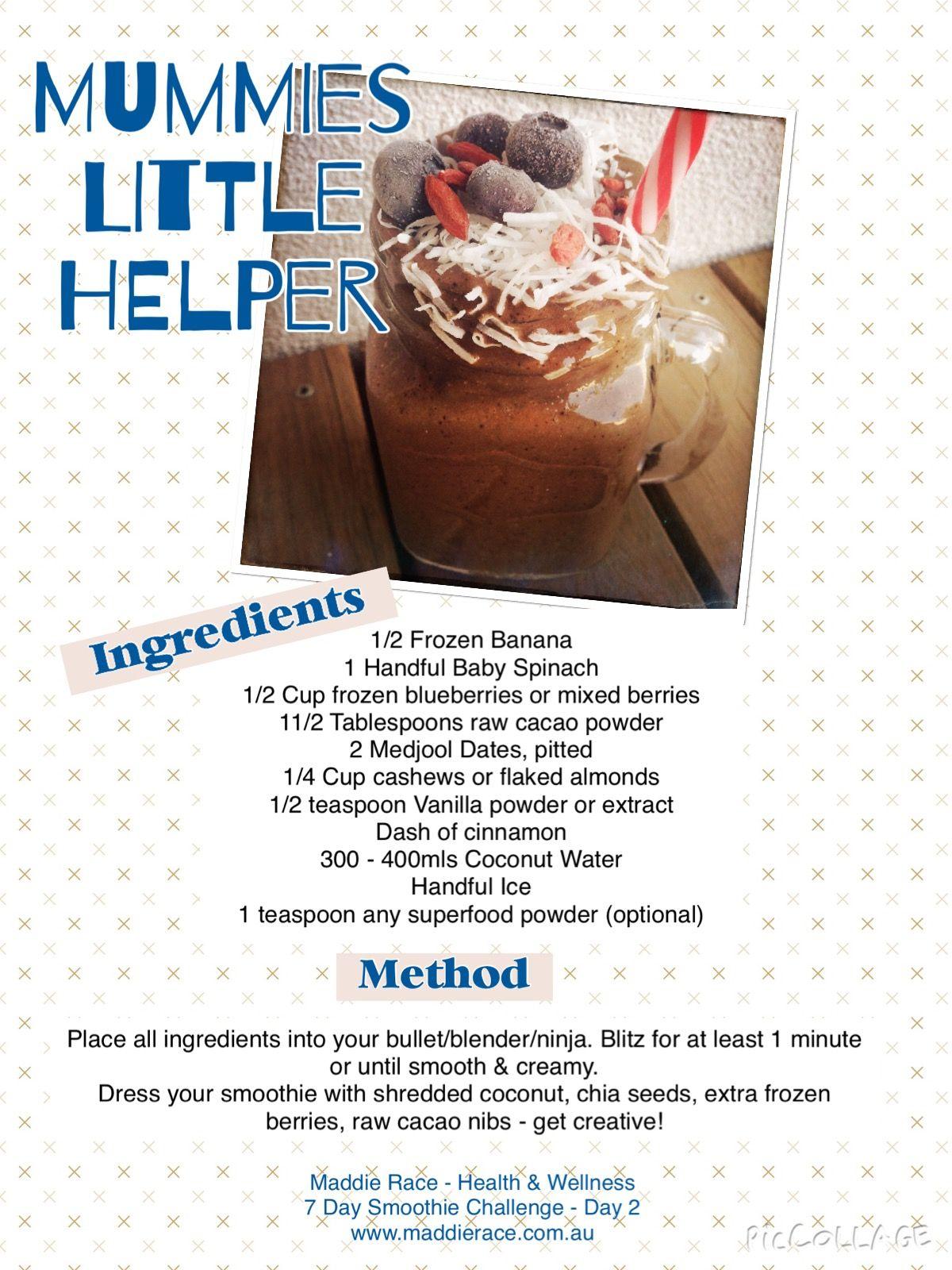 Mummies little helper!!! Voted most popular smoothie in my 7 day smoothie challenge.