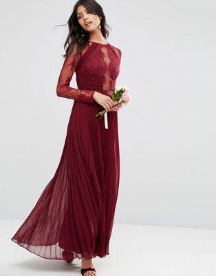 271f2b42c4fb ASOS WEDDING Pretty Lace Eyelash Pleated Maxi Dress