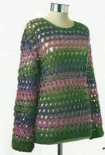 Sueter liviano multicolor para tejer al crochet / Paso a paso ...