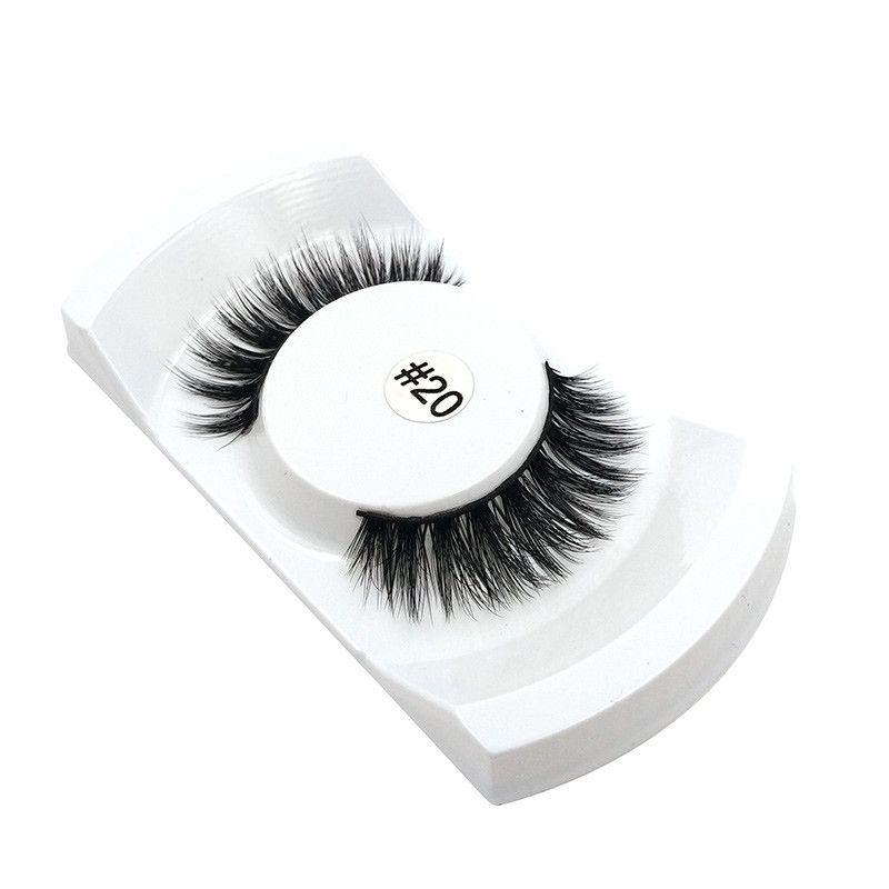 1Pair Natural Makeup 3d Mink Lashes False Eyelashes Single Case Eyelash Extension Make Up real siberian mink strip eyelashes #20