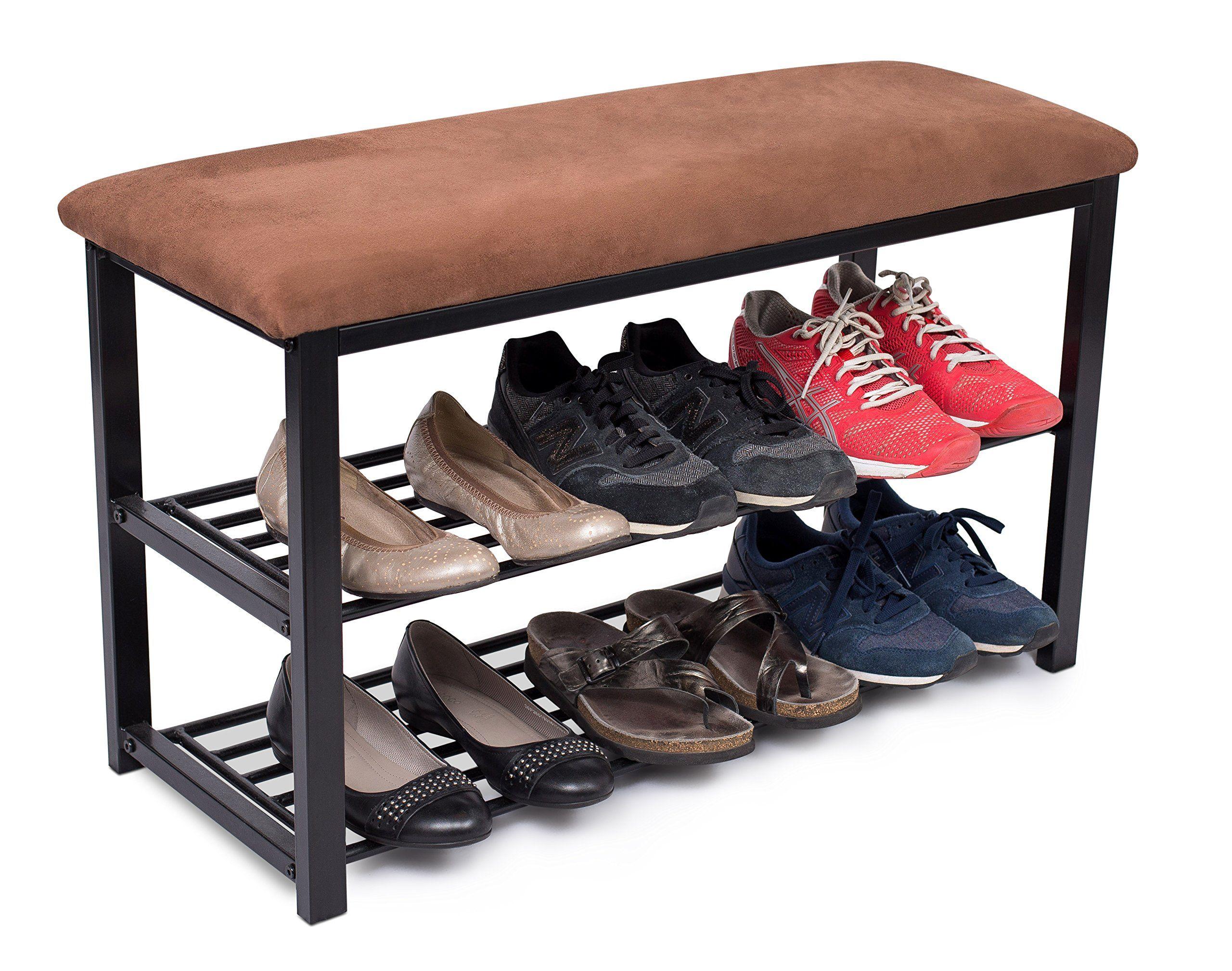 3 Tiers Shoe Shelf Brown ULBS06Z Entryway Storage Organizer Multi Function for Hallway Bathroom Living Room Corridor and Garden SONGMICS Bamboo Shoe Rack Bench for Boots
