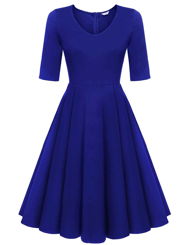 Meaneor Women\'s Half Sleeve Swing Dress Floral Print Knee Long A ...