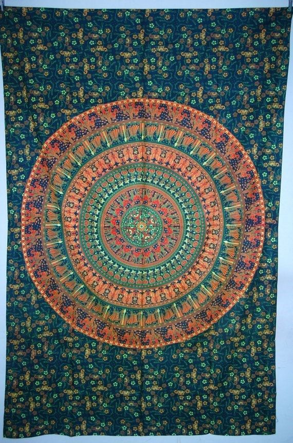 Elephant Mandala Tapestry, Hippie Indian Tapestry, Indian Mandala Tapestry Cotton Mandala Bed Cover, Bohemian Wall Hanging, Bedspread M1 on Etsy, $24.99