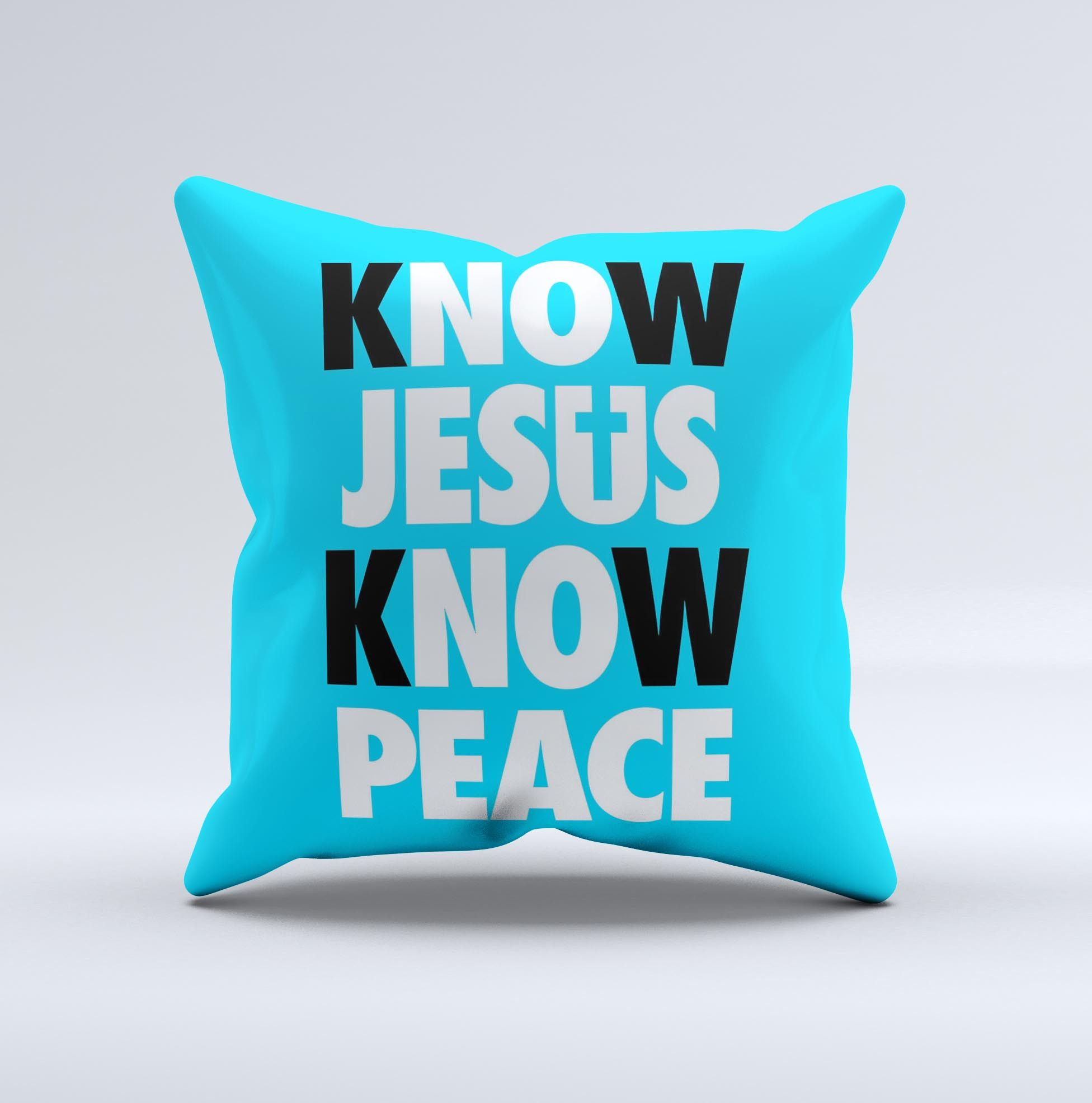 Know Jesus Know Peace - White and Black Over Blue  Ink-Fuzed Decorative Throw Pillow from DesignSkinz
