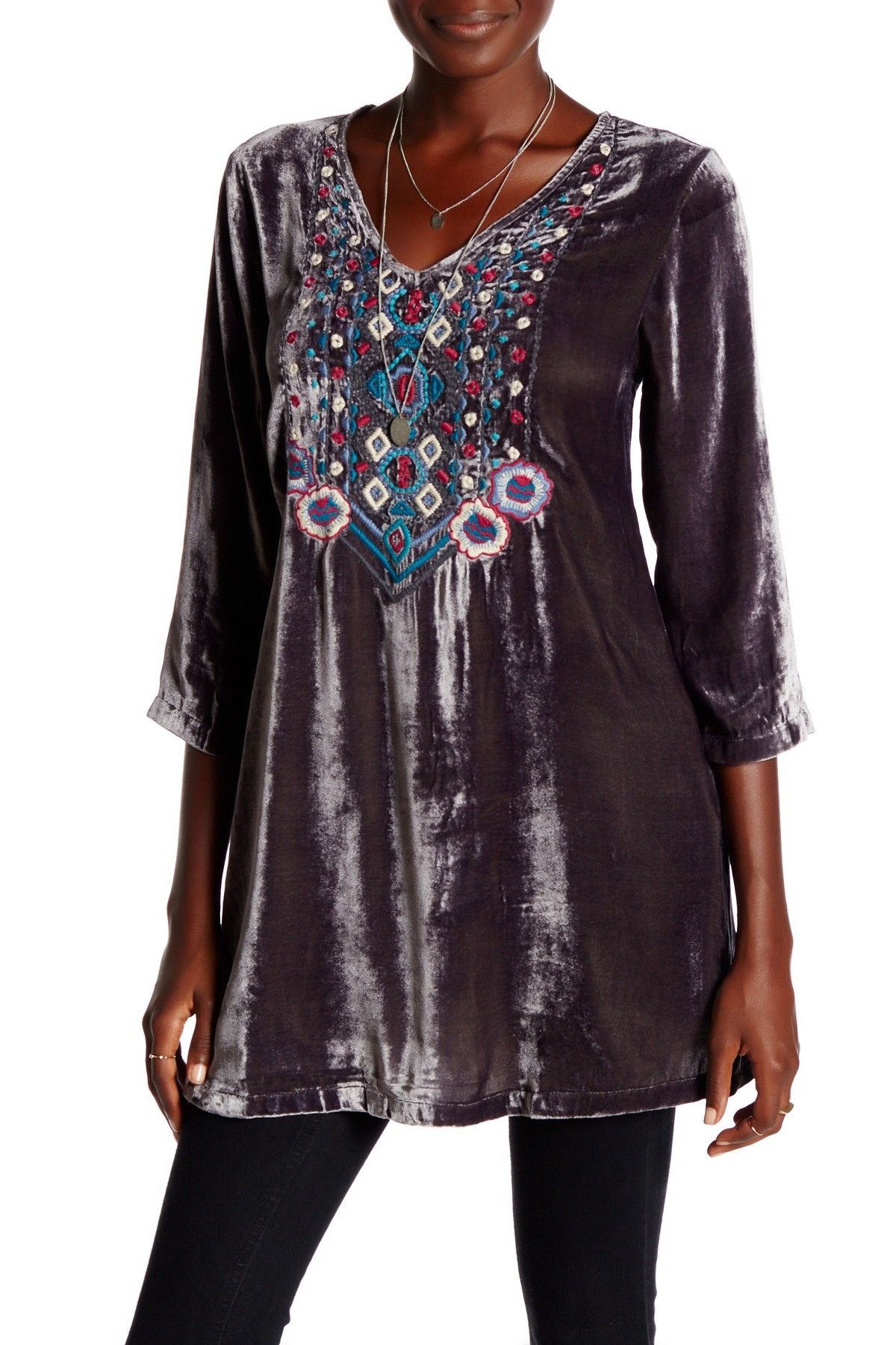 Caite & Kyla Seo | Guilana Embroidered Velour Tunic Dress