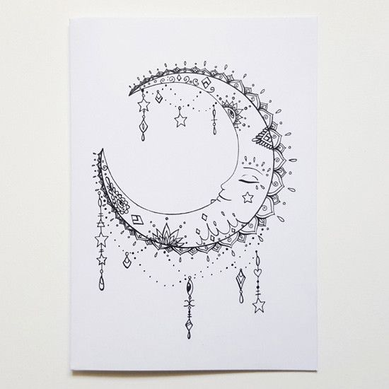 Hand Drawn La Lune Moon Birthday Card Bullet Journal Pinte