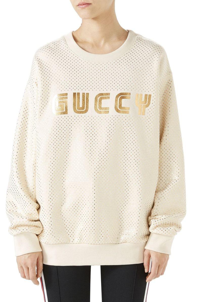 Gucci Metallic Logo Sweatshirt Nordstrom Sweatshirts Metallic Logo Gucci [ 1196 x 780 Pixel ]