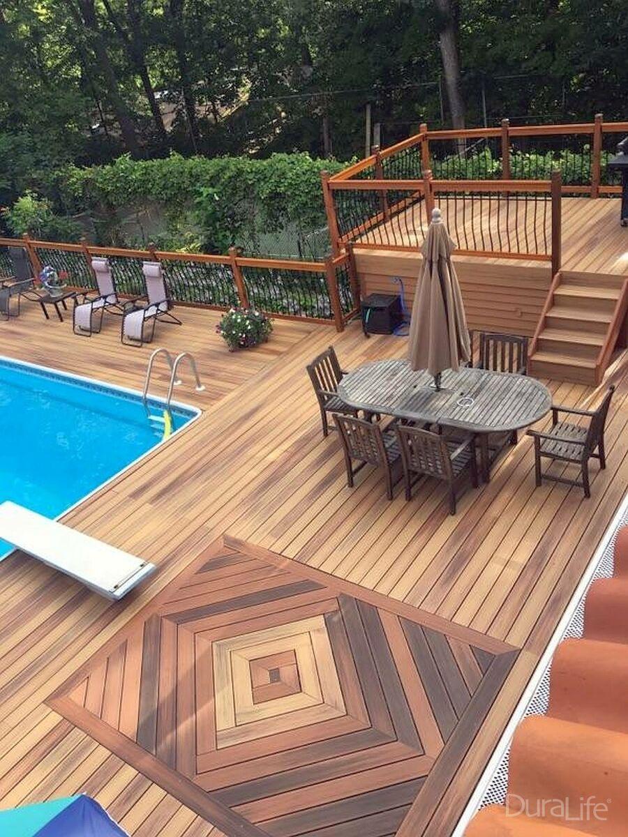 Duralife Composite Decking Pool Deck In Golden Teak Deck Designs Backyard Composite Decking Pool Composite Decking