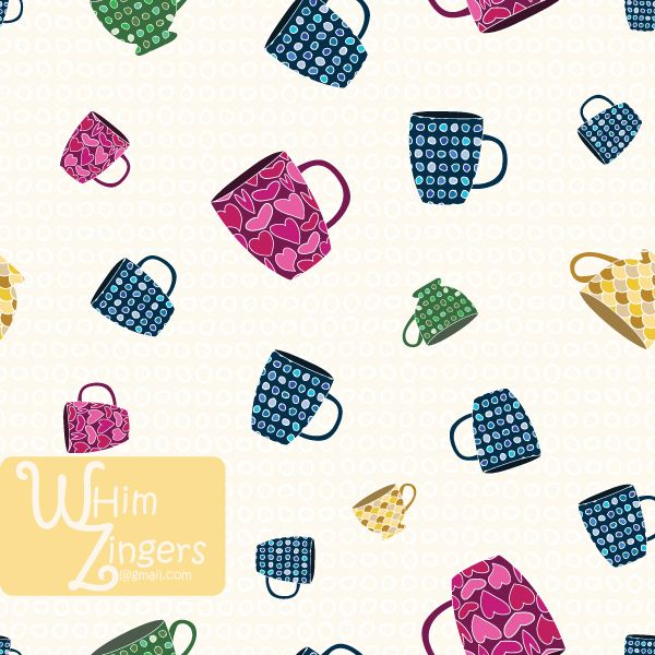 A digital repeat pattern for seamless tiling. #repeatpattern #seamlesspattern #textiledesign #surfacepatterndesign #vectorpatterns #homedecor #apparel #print #interiordesign #decor #repeat #pattern #repeat #repeating #tile #scrapbooking #wallpaper #fabric #texture #background #whimzingers #coffee #tea #cup #mug #pink #blue #yellow #green #drink #beverage