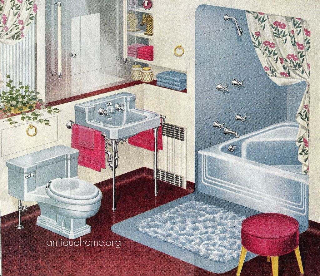 1948 Standard Plumbing Catalog - Blue Bathroom | Vintage bathrooms ...
