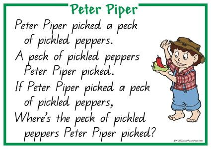 Peter Piper Nursery Rhyme Peques Madrugadores Miss
