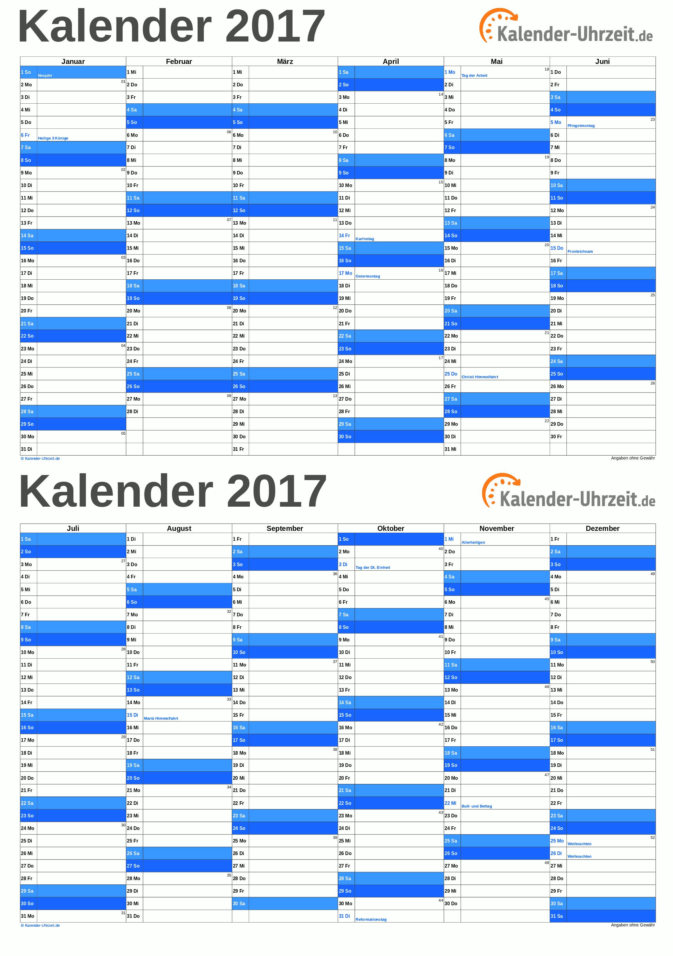 Kalender 2017 A5, PDF-Vorlage blau. #KalUhr Weitere Kalender ...
