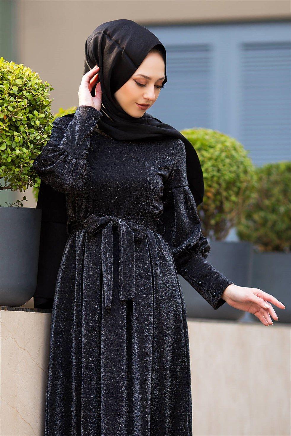 Modasima Simli Tesettur Elbise Modelleri Moda Tesettur Giyim Elbise Elbise Modelleri Moda Stilleri