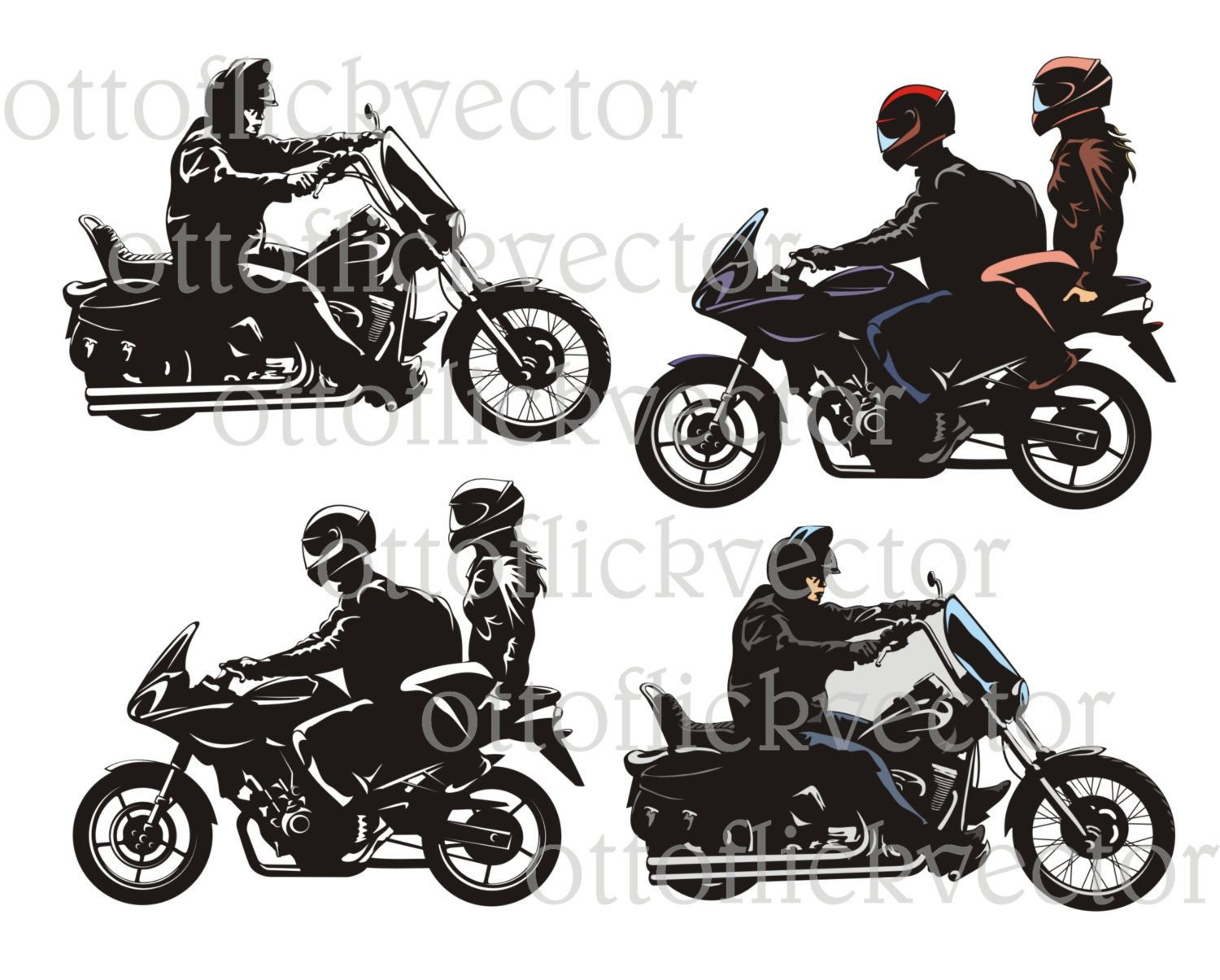 Motorcycle Bike Rider Vector Clipart Eps Ai Cdr