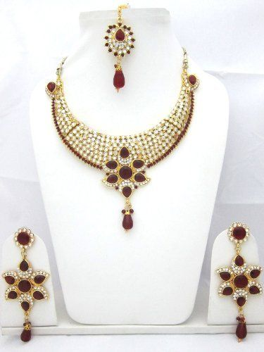 India Fashion Jewelry Red White Stones with Kundan Polki Gold