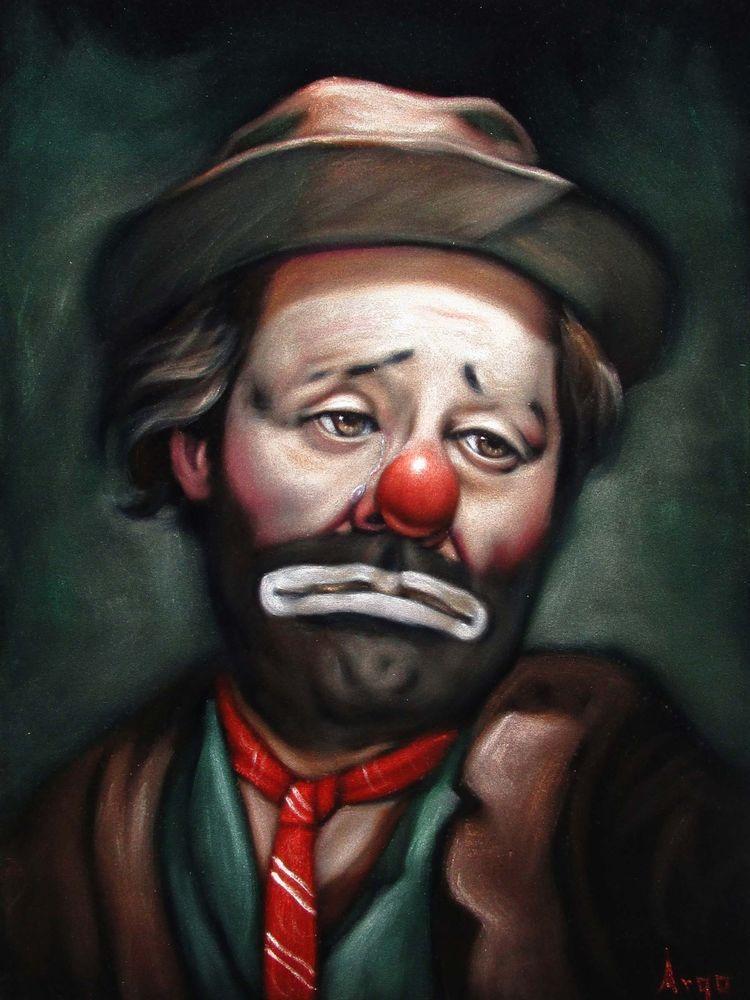 emmett kelly hobo clown face portrait art black velvet oil