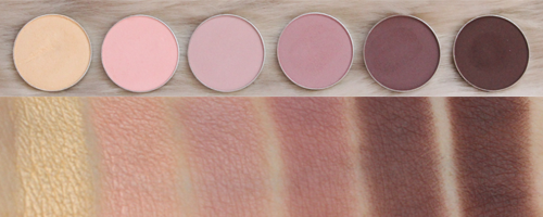 Makeup Geek mattes (L to R) Mirage, Sorbet, Confection, Petal Pusher, Vintage, Americano