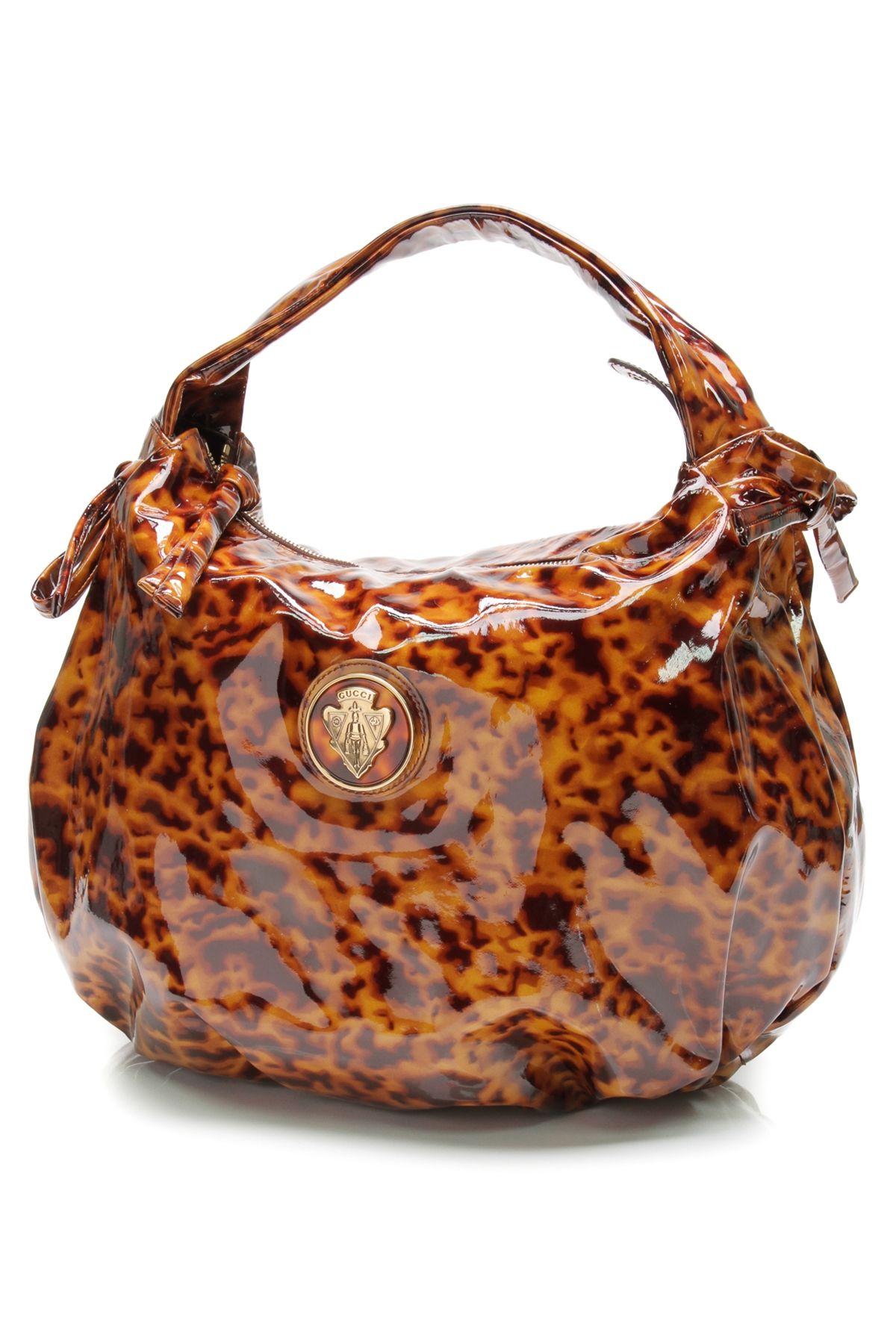 9ed8205e286 Gucci brown tortoiseshell patent leather Hysteria hobo bag