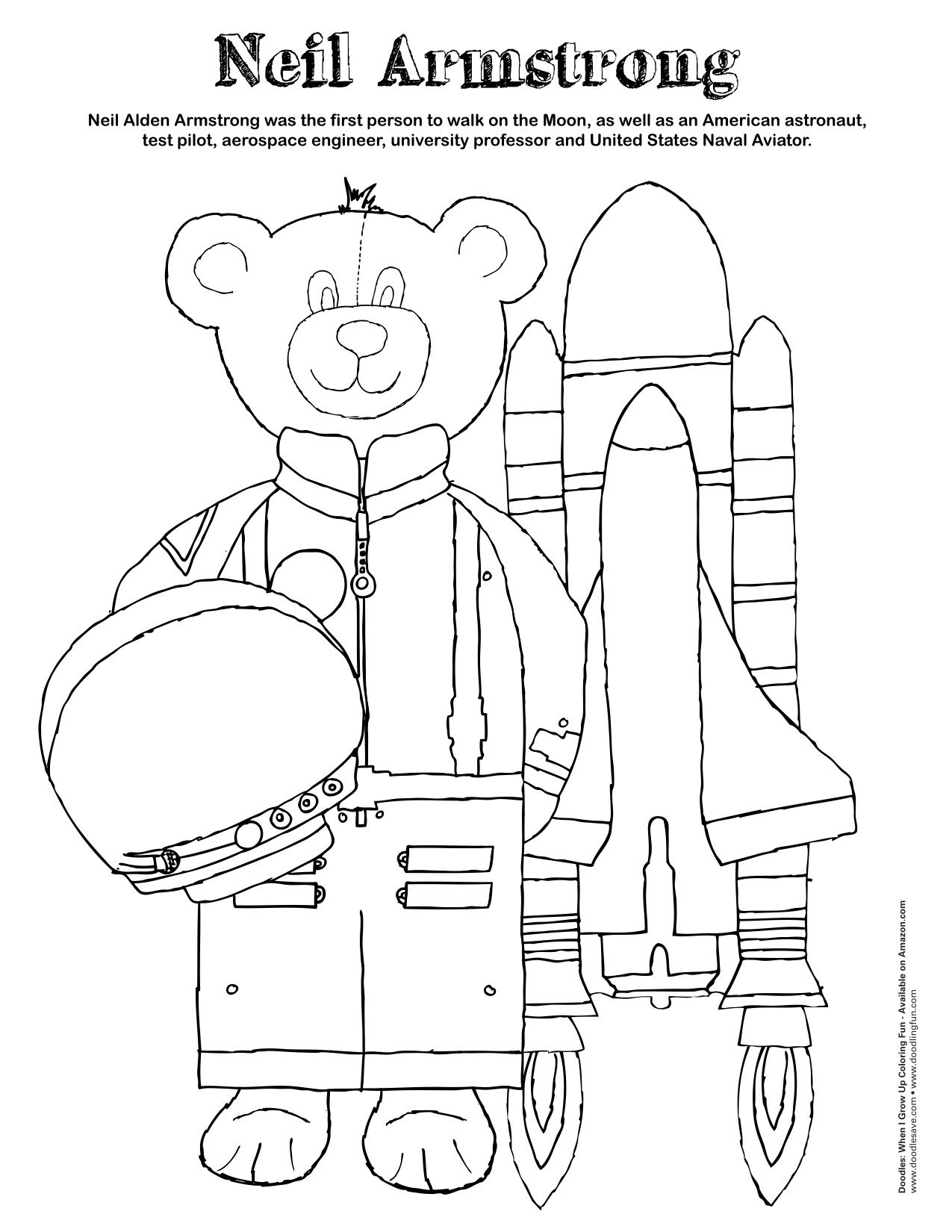 neil armstrong coloring sheet celebrate an american hero neil