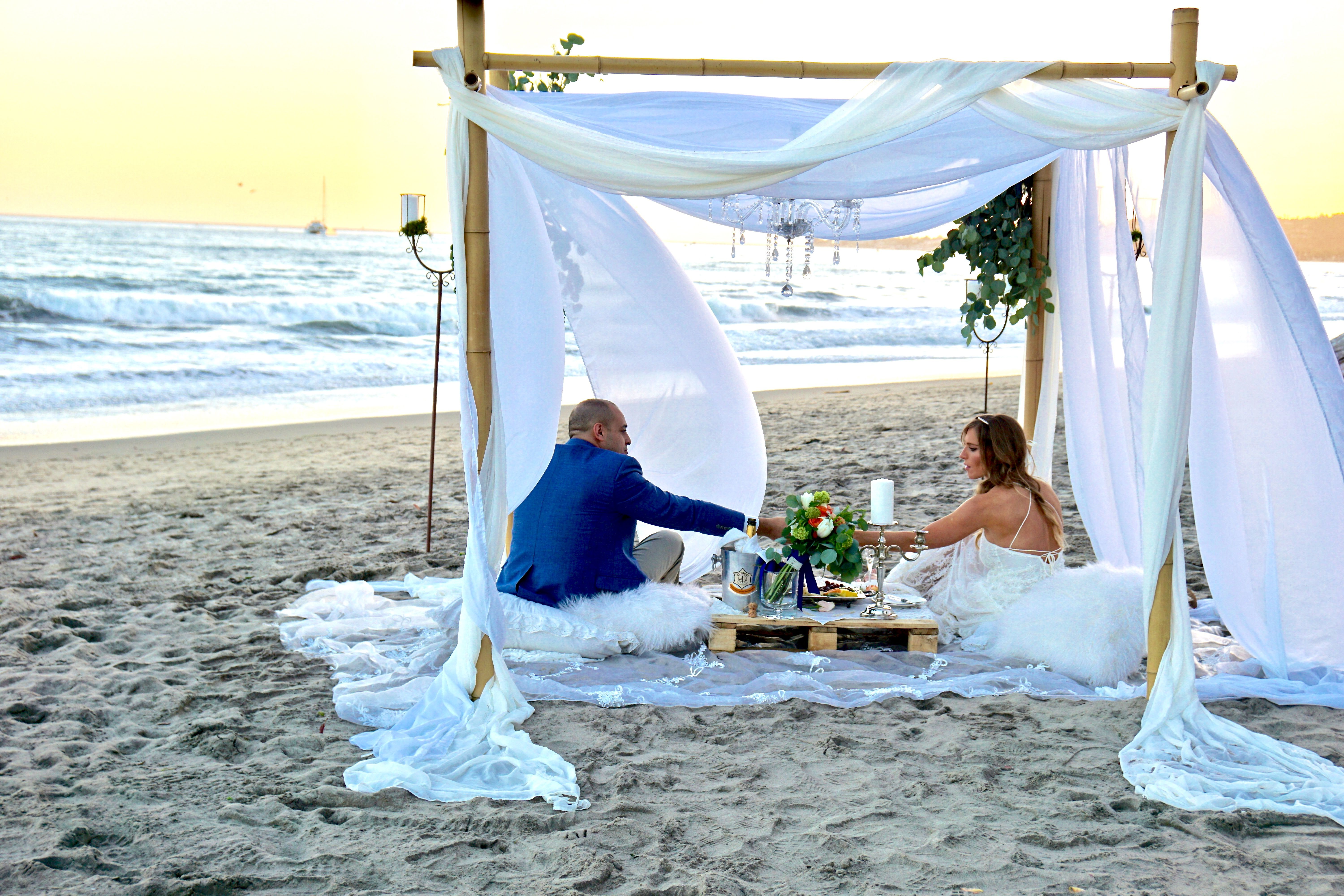 Wedding For Two Elopement Package Four Post Wedding Arbor With Chandelier Butterfly Beach Santa Barb Santa Barbara Wedding Santa Barbara Wedding Chandelier