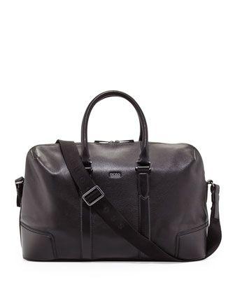 b62254049 Macro Leather #Weekender Bag, Black by #Boss #Hugo Boss at #Neiman Marcus.