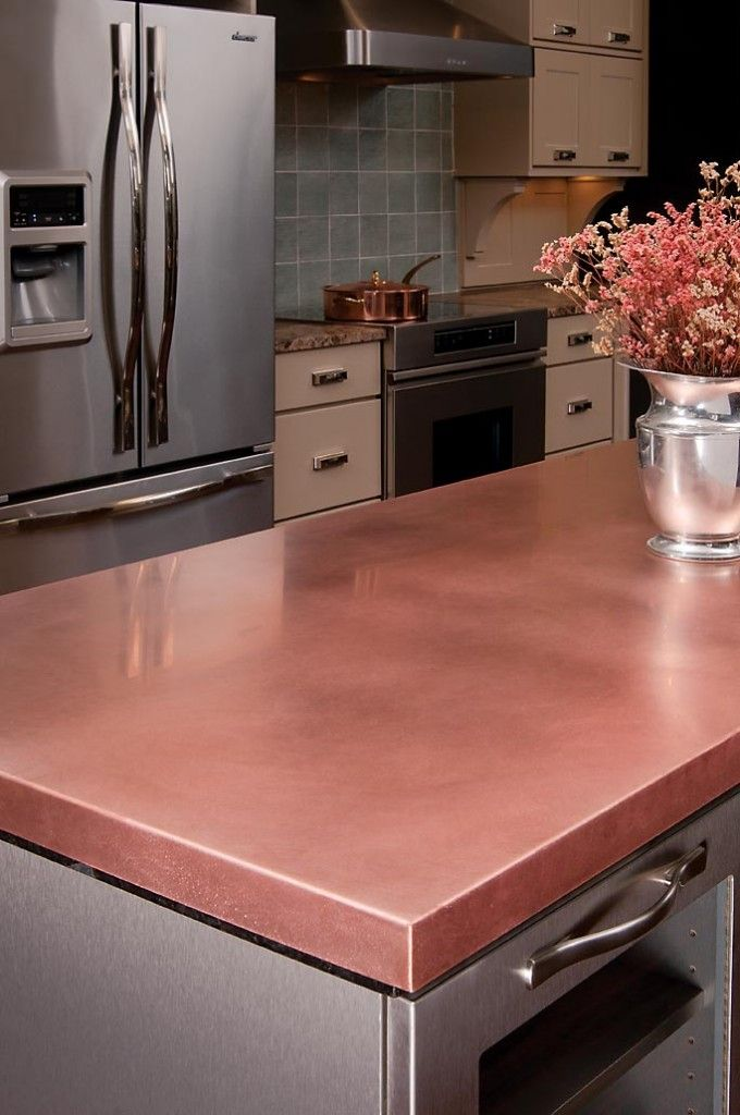 Copper Countertop (in stainless steel & grey kitchen) by Craft Art ...