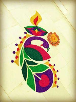 Easy Small Peacock Rangoli Designs 2016 Pinteres
