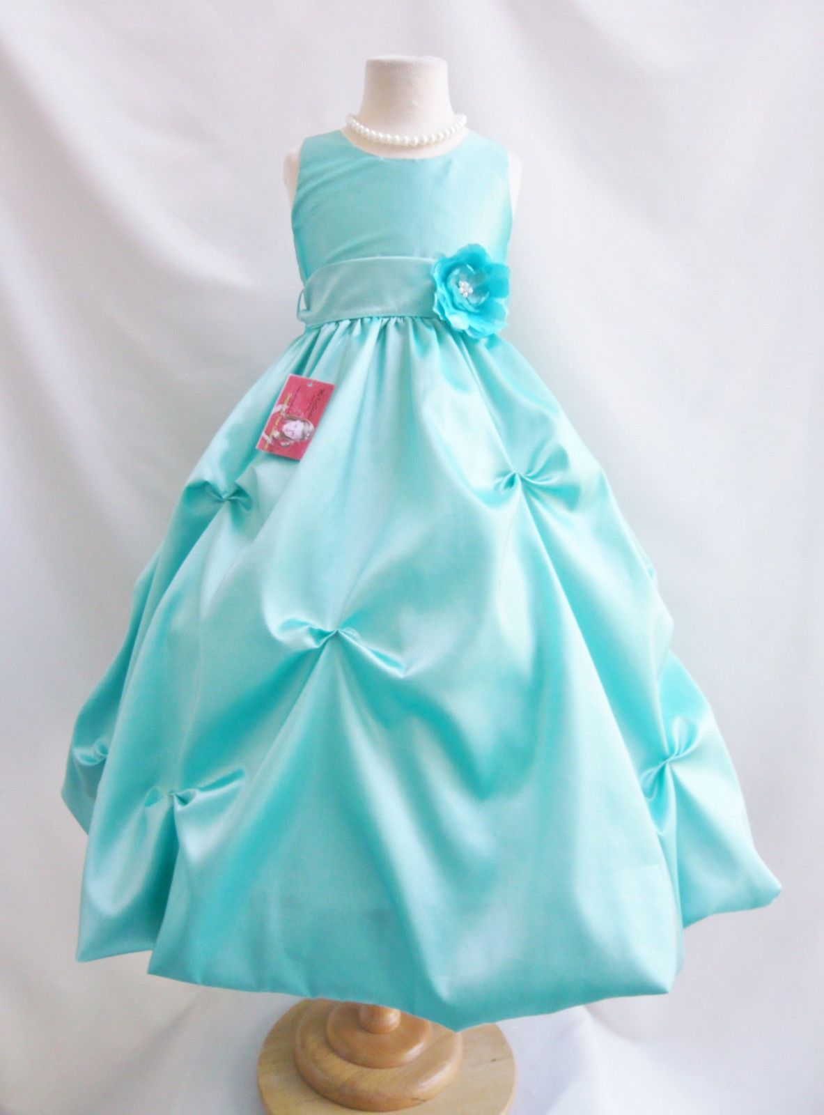 Beautiful pick up mint green taffeta wedding flower girl party dress