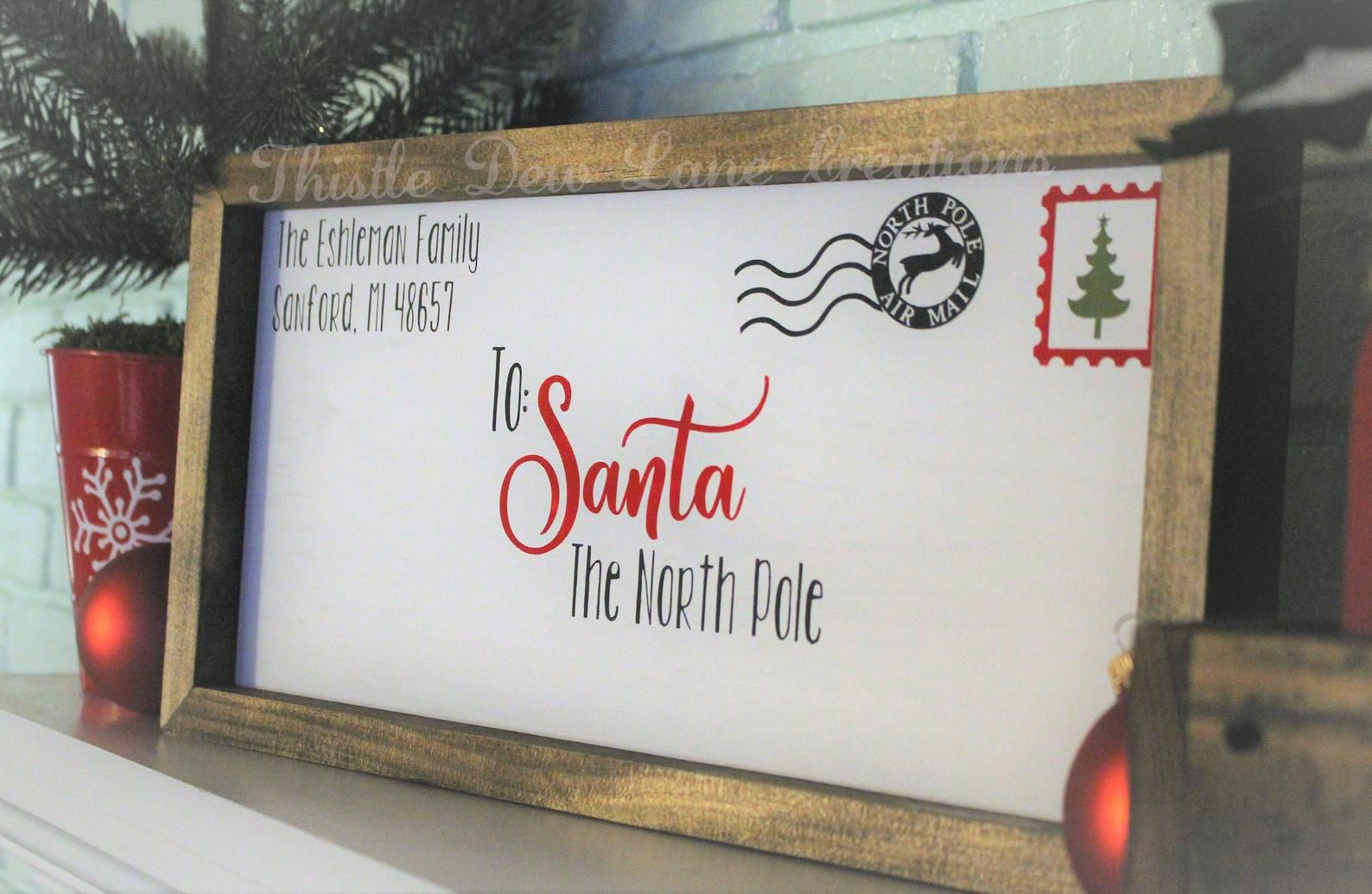 Photo of Letter to Santa wood sign, Christmas decor, Christmas personalized sign, Santa envelope sign, Personalized Santa sign, Holiday decor
