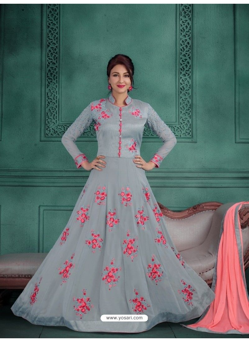 bd06bd38b0 Ordinary Grey Georgette Embroidered Floor Length Suit | Gowns n ...