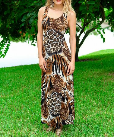 Another great find on #zulily! Brown Jungle Tank Maxi Dress #zulilyfinds