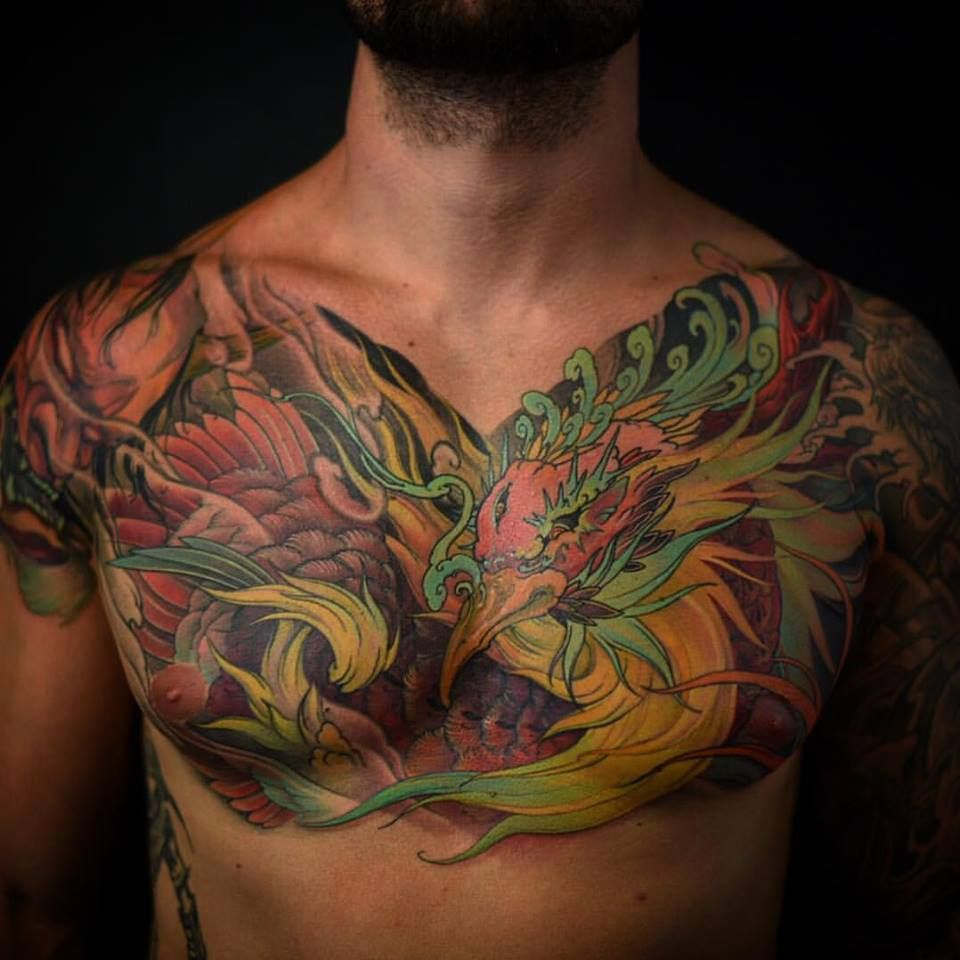 Tiger And Dragon Full Chest Piece: Toronto Tattoo Full Chest Phoenix