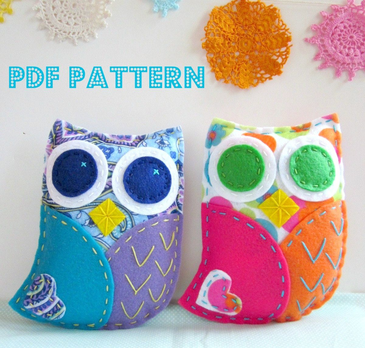 Pdf owl softie pattern felt hand sewing embroidery project