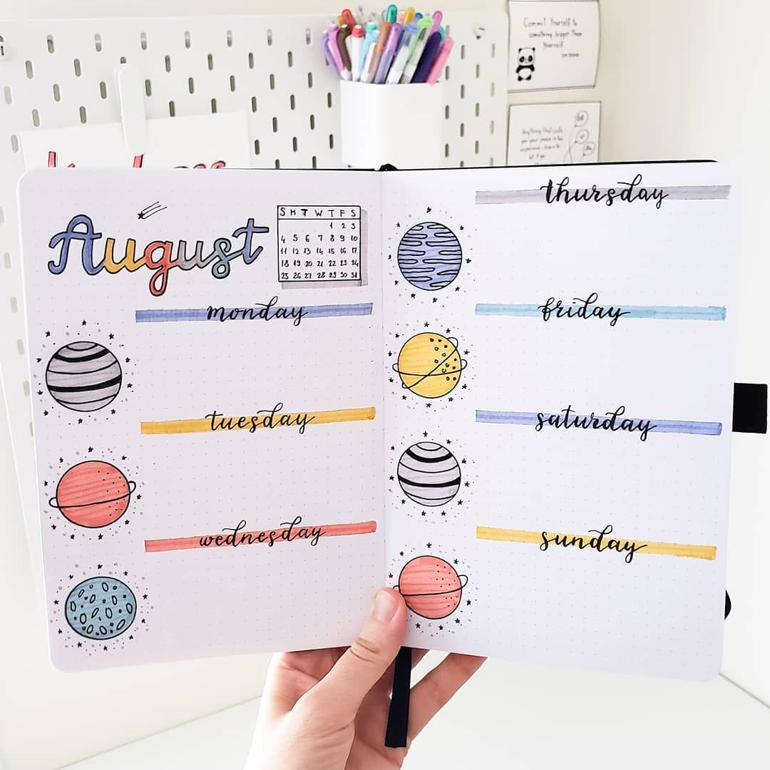 "�‍️ Slav on Instagram: ""Hi friends! �‍️ It's time for a new weekly spread. Soon I will start working on a September setup. I really like the theme and can't wait…"""