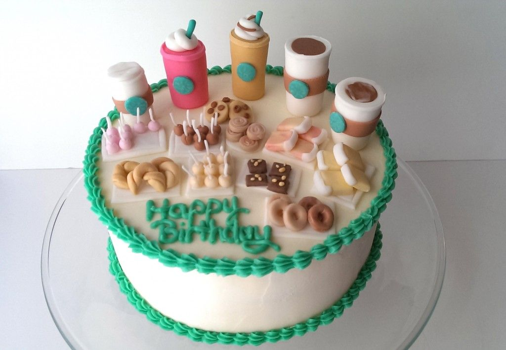 Starbucks Birthday Cake with tiny cups of coffee and pastries